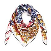 HERMES 葉叢圖騰真絲方型披肩圍巾(白色)179126