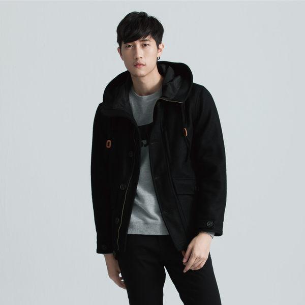 SISJEANS-黑色連帽毛料外套【1627300499】