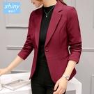 【V8233】shiny藍格子-率性時尚.秋冬純色修身休閒西服外套