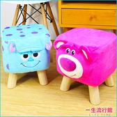 全家集點 迪士尼 毛怪 熊抱哥 正版 絨毛 木質 矮凳椅 卡通 兒童 椅子 B24635