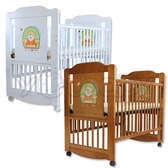 L.A. Baby 加州貝比布魯克林三階段嬰兒成長大床(附成長床側板/床道) -咖啡色/白色(不附床墊)