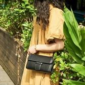 真皮肩背包-條紋鍊條純色牛皮女側背包3色73ym49【巴黎精品】
