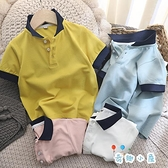 男童短袖t恤兒童純棉網眼翻領POLO衫【奇趣小屋】