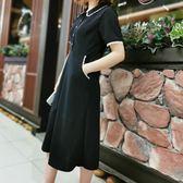 2019夏裝新款大碼女裝顯瘦蕾絲花邊連身裙赫本小黑裙修身長裙子