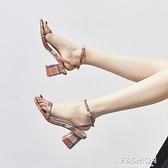 羅馬百搭一字帶時裝涼鞋女2020夏季新款仙女風高跟鞋溫柔粗跟女鞋【Ifashion·全店免運】