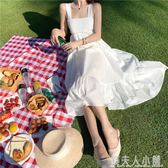 夏裝流行很仙的法國小眾桔梗裙海邊度假裙中長款露背吊帶洋裝女 錢夫人