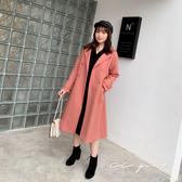 中大尺碼  排釦毛呢長版大衣外套-共兩色- 適XL~4L《  79190  》CC-GIRL