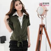 假兩件--休閒的上班裝扮-假兩件綁結襯衫領外罩衫上衣(黑.綠.紫.粉M-3L)-H75眼圈熊中大尺碼◎