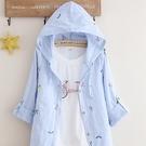 【快出】夏薄款外套披肩長袖小清新學生風衣寬鬆連帽空調衫女防曬棉麻開衫