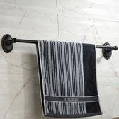 LYLE萊爾衛浴 黑色簡約復古法式毛巾桿 衛生間不銹鋼五金單桿架