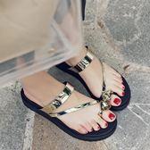 夏韓版夾腳夾趾厚底防滑涼拖鞋沙灘鞋水鑚