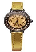 【卡漫城】 特價55折出清 米奇 花紋 水鑽 手錶 金色 ㊣版 Mickey 米老鼠 橢圓 迪士尼 女錶 皮革 個性
