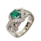 0.51ct祖母綠寶石鑲0.50ct鑽鉑...