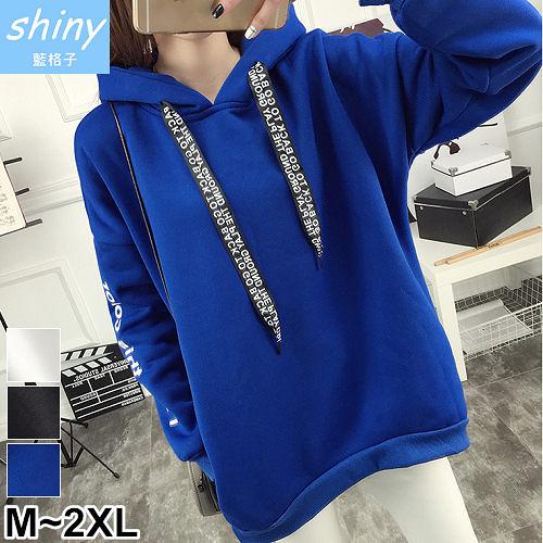 【V9096】shiny藍格子-冬著百搭.個性字母繫繩連帽刷毛長袖上衣