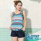 【Summer Love 夏之戀】加大碼條紋長版三件式泳衣(S19725)