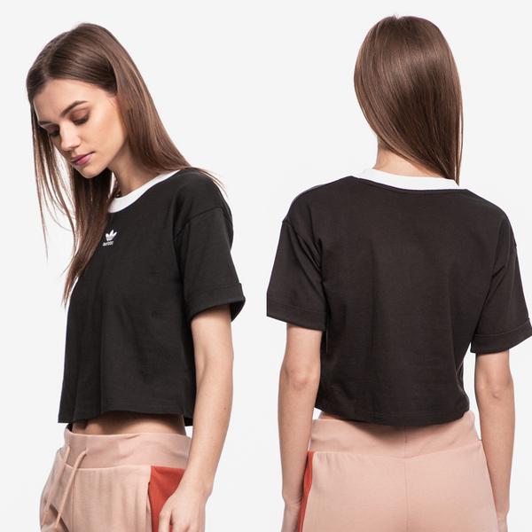 【GT】Adidas Originals 黑白粉紅 短袖T恤 女款 短版 純棉 運動 休閒 上衣 短T 愛迪達 三葉草 Logo