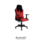 【obis】August透氣網布高背腰枕電腦椅-紅色