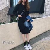 女裝純色正韓寬鬆長袖中長版打底裙子學生荷葉邊裙熱賣夯款