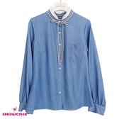 【SHOWCASE】氣質緞帶小荷葉立領薄款牛仔長袖襯衫(藍)