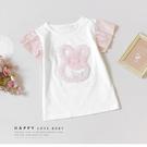 可愛兔兔蕾絲花朵荷葉袖短T 氣質 白 粉...