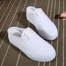 新款帆布鞋夏季平跟帆布包頭拖鞋厚底半拖鞋...