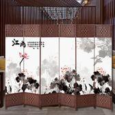 屏風 中式屏風隔斷客廳簡約現代雙面布藝酒店辦公可折疊玄關移動折屏