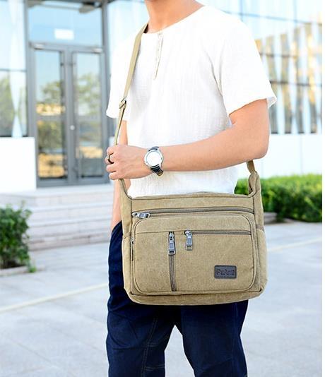 現貨休閒男包帆布包男橫款側背包斜背包男士包包斜背背包 韓國時尚週