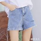 卷邊牛仔短褲 2020新款學生女夏寬鬆a字破洞高腰闊腿熱褲潮 BT24282【極致男人】