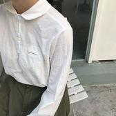 【618好康鉅惠】棉麻襯衫女長袖秋冬裝新款Polo領寬鬆