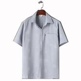 店長嚴選夏季男士亞麻短袖襯衫男中老年襯衣爸爸裝棉麻寬鬆上衣薄款寸衫夏