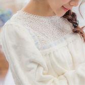 (少量)頂級壓花絨~超細緻玫瑰蕾絲睡衣+睡褲-長袖睡衣