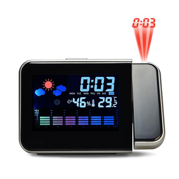 氣象投影時鐘 LCD彩屏背光溫度濕度計貪睡鬧鐘 天氣顯示180度旋轉電子鐘【ZG0109】《約翰家庭百貨