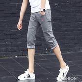 夏季彈力七分牛仔褲男士韓版修身小腳褲潮男裝休閒短褲薄款中褲子-ifashion