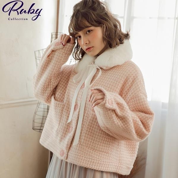 外套 綁帶毛領千鳥格毛呢外套-Ruby s 露比午茶