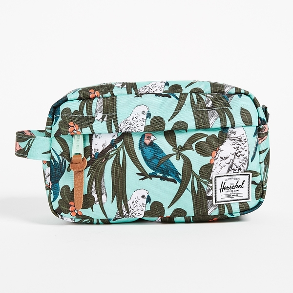 Hsin 83折 現貨 Herschel Chapter 綠色 鳥 葉子 Carry On 帆布 旅行 防水拉鍊 化妝包 收納袋