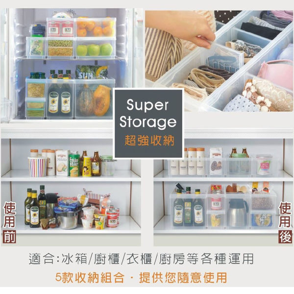 【生活大買家】免運 LF1005 六入 Fine隔板整理盒(附輪) 透明整理箱 塑膠箱 分隔箱 抽屜整理
