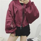 秋裝女裝韓版原宿風仙鶴刺繡bf寬鬆棒球服飛行員情侶夾克短款外套 卡卡西