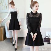 中大尺碼蕾絲洋裝 氣質高冷有女人味黑白拼接假兩件修身顯瘦連身裙 nm19260【野之旅】