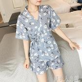 日式和服睡衣女夏季純棉短袖韓版清新學生薄款可外穿家居服兩件套「錢夫人小鋪」