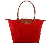 【LONGCHAMP】M號正紅色長把摺疊水餃包 1899089545