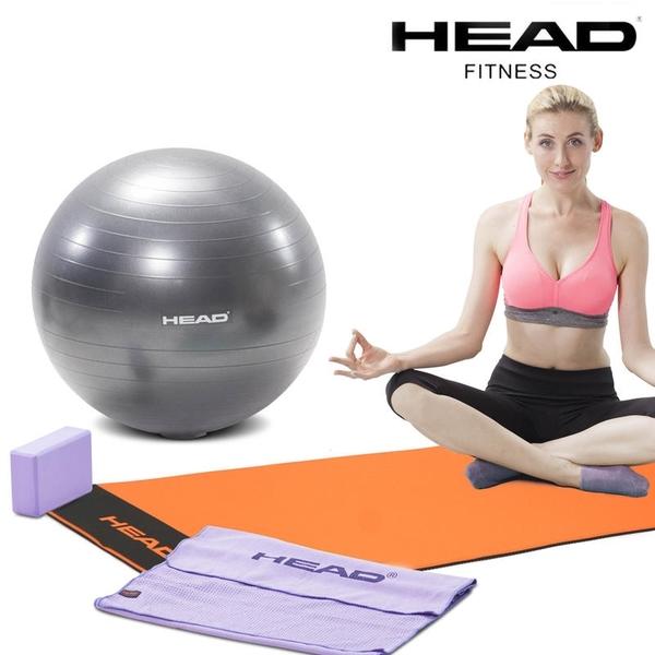 HEAD海德4合1瑜珈套裝組-進階/入門(瑜珈墊+瑜珈球+瑜珈舖巾+瑜珈磚) WELLCOME好吉康