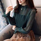 雪紡衫女2018春裝新款黑色小衫蕾絲打底衫長袖兩件套上衣超仙甜美『韓女王』