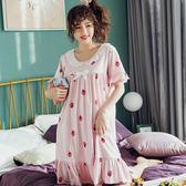 睡衣女夏季純棉短袖正韓小清新公主風學生睡裙夏天寬鬆外穿家居服   任選一件享八折