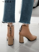 短靴女粗跟2018新款春秋季方頭裸靴黑色秋靴高跟踝靴矮靴短筒靴子