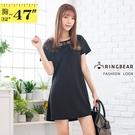 連身洋裝--優雅氣質V型立體蕾絲拼接圓領A字短袖連身裙(黑XL-3L)-D525眼圈熊中大尺碼