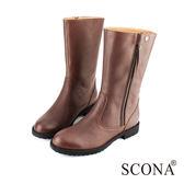 SCONA 全真皮 極簡百搭側拉中筒靴 咖啡色 8771-2
