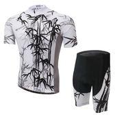 自行車衣-(短袖套裝)-高彈透氣排汗墨竹男單車服套裝2色73er13[時尚巴黎]