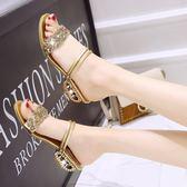 夏季韓版女涼鞋低跟牛筋底防滑大小碼女式拖鞋粗跟兩穿羅馬高跟 奇思妙想屋