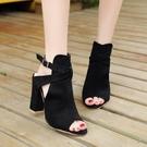 魚口鞋 涼鞋女2021年夏季新款韓版百搭魚嘴高跟鞋粗跟外貿大碼鞋涼靴11cm