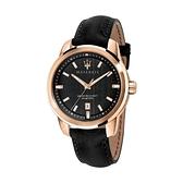 【Maserati 瑪莎拉蒂】SUCCESSO紳士簡約真皮腕錶-木質黑/R8851121011/台灣總代理公司貨享兩年保固